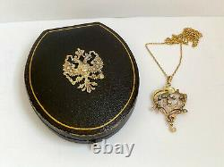 Antique Impérial Russe Faberge 14k/56 Or Diamants Naturels Collier Pendentif