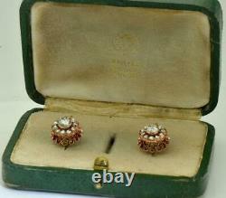Antique Imperial Russe Faberge 2.20ct Boucles D'oreilles En Or Diamants Ensemble. Boîte Originale