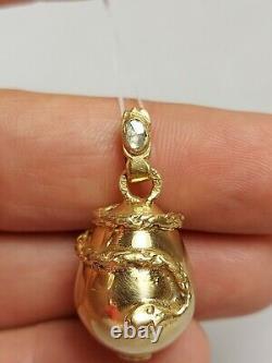 Antique Impérial Russe Faberge Diamond Argent 84 Plaque D'or Pendentif D'oeuf De Serpent