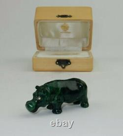 Antique Imperial Russe Faberge Main Sculptée Malachite Hippo Statue W Boîte Équipée