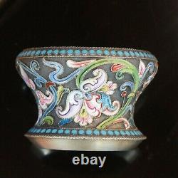 Antique Impérial Russe Shaded Cloisonne 875 Argent Émail Salt Dish Bowl