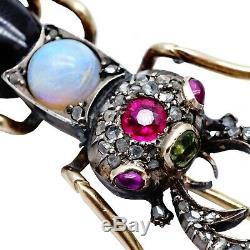 Antique Imperial Russian 56 Scarabée D'or Cicada Beetle Broche Romanov Bijoux Ru
