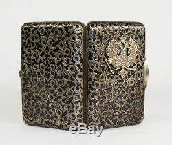Antique Imperial Russian 84 Argent Niello Émail Étui À Cigarettes Avec Aigle
