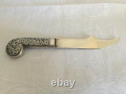 Antique Imperial Russian 84 Zolotnik Argent Niello Papier/couteau De Bureau Vers 1908-1918
