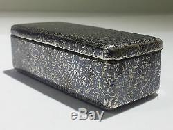 Antique Imperial Russian 840 Silver & Niello Tabatière Vers Les Années 1860