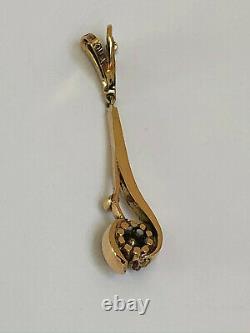 Antique Imperial Russian Faberge 14k 56 Gold Diamond Pendant Author's Work