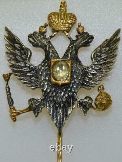 Antique Imperial Russian Faberge 14k Gold&0.5c Diamond Officer's Eagle Lapel Pin