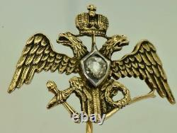 Antique Imperial Russian Faberge 14k Gold&0.5ct Diamond Crowned Eagle Lapel Pin