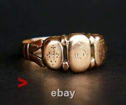 Antique Imperial Russian Faith Love Hope Ring Solide 56 14k Gold Ø 8.5 Us / 2.7gr