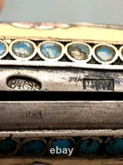 Antique Imperial Russian Gilt Sterling Silver 84 Enamel Cigarette Case Firebird