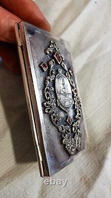 Antique Imperial Russian Gravé Sterling Silver 84 Porte-cartes De Visite 103 Gr