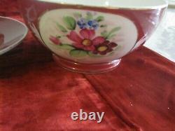 Antique Imperial Russian Porcelain Red Floral Bowl & Plate Set Marked Gardner