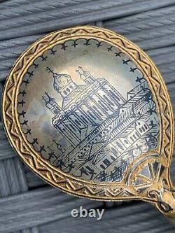 Antique Imperial Russian Silver Gilt Niello Émail Cuillères Ovchinnikov Moscou