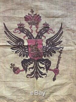 Antique Imperial Russian Standard Drapeau Dynastie Romanov Double Aigle 1910 Headed
