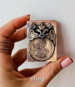 Antique Imperial Russian Sterling Silver 84 Matchstick Case Ekaterina II Eagle