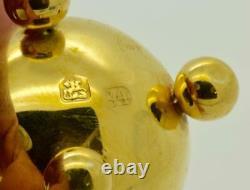 Antique Impériale Russe 18k Argent Doré Oeuf De Pâques Verge Fusee Horloge De Bureau C1800