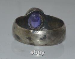 Antique Impériale Russe 19ème ! Silver 84 Pierre D'anneau Victorian Taille Rare 10
