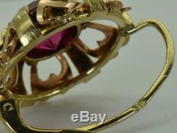Antique Impériale Russe (56) 14k & 4ct Rubies Boucles D'oreilles C1900. Boxed