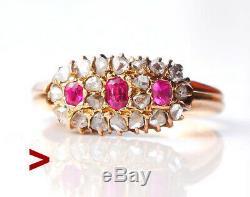 Antique Impériale Russe Anneau Solide 56 / 14k Diamants Or Rubis Ø 5,5 / 3 Gr