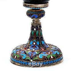 Antique Impériale Russe Argent Néphrite Coupe Goblet Khlebnikov Cloisonné