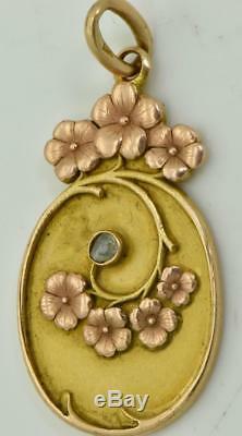 Antique Impériale Russe Art Nouveau Vari-couleur 14k Or (56) & Pendentif Diamant