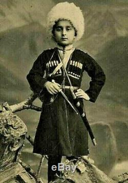 Antique Impériale Russe Caucasien Épée Argent Poignard Kinjal Kindjal Épée Factice