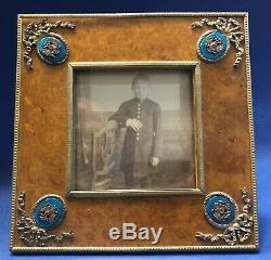 Antique Impériale Russe De Carélie Birch Émaillé Photo Frame