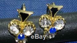 Antique Impériale Russe Émail Or Rose 56 14k Bijoux Old Boucles D'oreilles 3,2 Gr