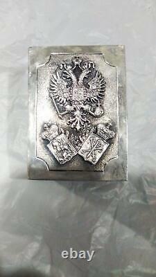 Antique Impériale Russe En Argent Sterling 84 Matchstick Cas 40g Hero Sculpté À La Main
