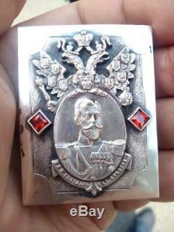 Antique Impériale Russe En Argent Sterling 84 Matchstick Cas Nikolay II Signé