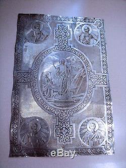 Antique Impériale Russe En Argent Sterling Icône Bible Cover. Incroyable Et Unique