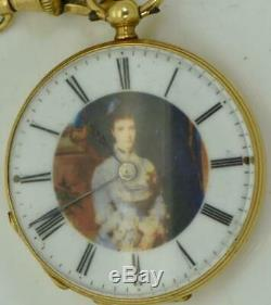 Antique Impériale Russe En Or 18 Carats, Émail Et Montre De Diamants. Portrait De L'impératrice