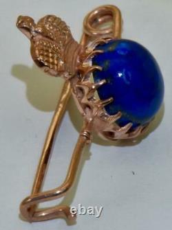 Antique Impériale Russe Faberge 14k Gold &lapis Lazuly Officiers Prix Broche Broche