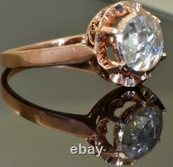Antique Impériale Russe Faberge 14k Rose Or &1.5ct Bague De Fiançailles Diamant. Boîte
