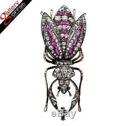 Antique Impériale Russe Faberge 56 Broche En Or 14k Diamant Ruby Romanov Bijoux