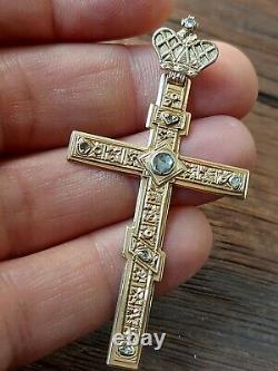 Antique Impériale Russe Fabergé 56 Croix Diamants Or 14k