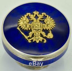 Antique Impériale Russe Fabergé 84 Argent Et Guilloché Pilulier Émail Transparent