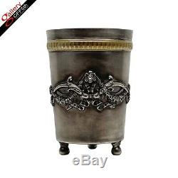 Antique Impériale Russe Fabergé Argent 84 Garland Or Wash Footed Coupe Beaker