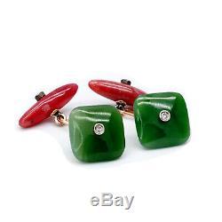 Antique Impériale Russe Fabergé Boutons De Manchette En Or Jade Diamant Rhodonite Néphrite