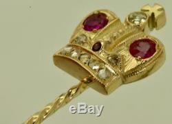 Antique Impériale Russe Fabergé Gold, Diamond & Rubies Romanov Couronne Épinglette