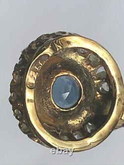 Antique Impériale Russe Fabergé Or 14k 56 Naturel Saphir Et Diamants Pendentif