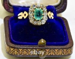 Antique Impériale Russe Faberge Or 18k, 1ct Emerald & 1.5ct Bague Diamants. Encadré