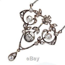 Antique Impériale Russe Fabergé Or Argent Platine Collier Pendentif À Diamants