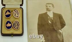 Antique Impériale Russe Fabergé Or Et Boutons De Manchette En Émail. Romanov Tricentenaire
