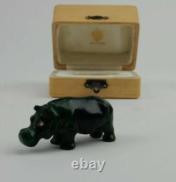 Antique Impériale Russe Fabergé Sculpté À La Main Malachite Hippo Statue W Aménagée Box