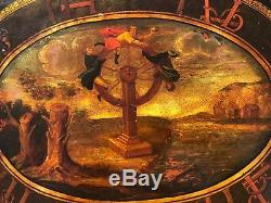 Antique Impériale Russe Libre Tole Plateau De Table Avec La Peinture Circa 1850