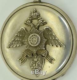 Antique Impériale Russe Maçonnique Argent Montre De Poche Par De Perret & Muller C1870