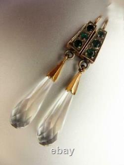 Antique Impériale Russe Rose Gold 56 14k Boucles D'oreilles Bijoux Emerald Rock Crystal
