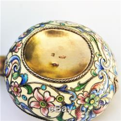 Antique Impériale Russe Shaded Émail Cloisonné 875/1000 Vermeil Kovsh