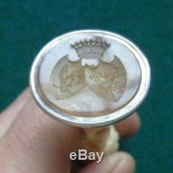 Antique Impériale Russe Silver Desk Seal Princesse & Saltykov Duc De Modène
